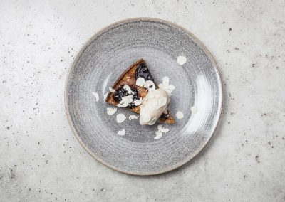Prune tart with lapsang ice cream